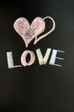 Love with two hearts. Love drawn in chalk on a chalkboard Stock Image