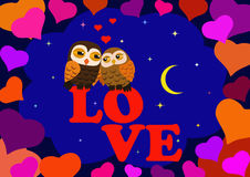 Love Two owls. In the night star sky in a frame of hearts Royalty Free Stock Images