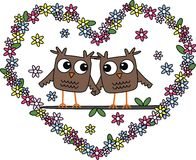Love. Two owls in love Royalty Free Stock Images