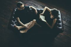 Love of two people. Portrait of an attractive young people in love at home. Beauty, fashion royalty free stock photos
