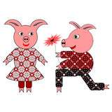 Love between two pigs. One pig presents another a beautiful flower. A vector-art illustration on a white background Royalty Free Stock Images