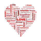 Love typography. A typographic illustration of Valentine's day and generally love. A concept with words that symbolise love shaped into a heart.The predominant Stock Photography