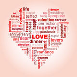 Love typography. A typographic illustration of Valentine's day and generally love. A concept with words that symbolise love shaped into a heart.The predominant Stock Photo