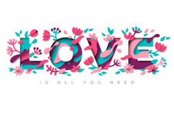 Love typography with abstract leaves and flowers Royalty Free Stock Image