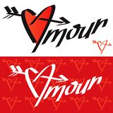 Amour typography. Amour calligraphy. Love typography. Love calligraphy. Amour. Heart pierced by an ar. Row. Love texture. French language vector illustration