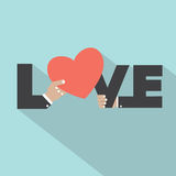 Love Typography With Heart Symbol Design Stock Photography