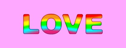 Love typography rainbow color - LGBT pride slogan against homosexual discrimination on a pink background. Vector illustration.  stock illustration