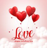 Love typography text with flying red heart shape balloons vector banner design Royalty Free Stock Photography