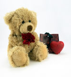 Love u. Cute fluffy teddy holding a red carnation and with heart and gift bag Stock Photography