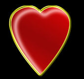 Love u 3. A vector image -red golden jewely  heart  on black background Stock Photo