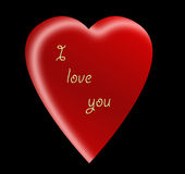 Love u 4. A vector image -red    heart  on black background whith text Ilove you Royalty Free Stock Images