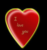 Love u 5. A vector image -red    heart  on black background whith text Ilove you Royalty Free Stock Images