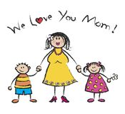 We Love U Mom - fair skin tone Stock Photo