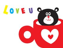 Love u teddy. A loving cute teddy bear in a cup Stock Images
