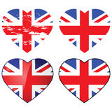 Love UK. Set of four Union Jack flags shaped like a heart Royalty Free Stock Image