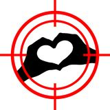 Love under aim. Heart target. Vector Royalty Free Stock Photo