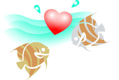 Love under water. Colourful illustrated image of two  romantic fishes under water Royalty Free Stock Photos