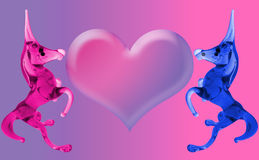Love Unicorns with the heart. (empty for your sign Stock Image