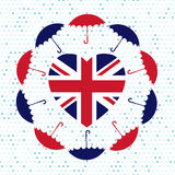 Love United Kingdom symbol. Heart flag, umbrellas, rain . Vector Royalty Free Stock Photography