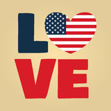 Love USA america. Love USA, America, Happy Independence Day, July 4th, Fourth of July, American Flag Vector Royalty Free Stock Image