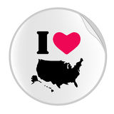 Love USA Sticker (STICKER SERIES). Vectorial illustration for simple sticker with I Love Usa royalty free illustration