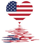 Love The USA / US Flag With R. Love The USA / Heart And US Flag - National Symbol Of The United States Of America With Reflection Stock Illustration
