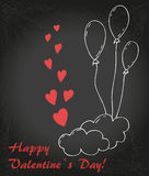 Love 16. Valentin`s  Day card with balloons, cloud and hearts royalty free illustration