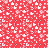 Love Seamless Pattern with Hearts and Flowers Stock Photos
