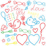 Love Valentine art. Romantic hand drawn doodle vector clipart in Royalty Free Stock Photography