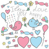 Love Valentine art. Romantic hand drawn doodle vector clipart in Royalty Free Stock Images