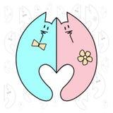 Love Valentine art. Romantic vintage clipart with cats. Stock Photos