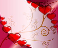 Love valentine background. Stylish love background theme with transparent hearts and plant Stock Image