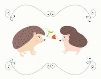Love valentine card with hedgehogs - cute design. With frame Royalty Free Stock Photos