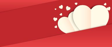 Love valentine day background. And red heart with vector design royalty free illustration