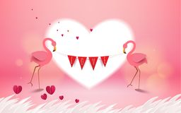 Love and Valentine Day card. Romantic pink flamingo birds holdin. G love flag on pink background. Greeting card with love birds and red heart flower. Festive Stock Images