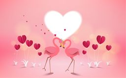 Love and Valentine Day card. Romantic pink flamingo birds join h. Eads to create a heart. Greeting card with love birds and red heart flower. Festive poster for Stock Photo