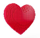 Love and Valentine Day concept. 3d pixel art heart. 3d render royalty free illustration