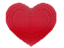Love and Valentine Day concept. 3d pixel art heart. 3d render stock illustration