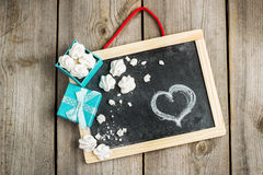 Love and Valentine Day decoration with hearts, frame, gift box Royalty Free Stock Photo