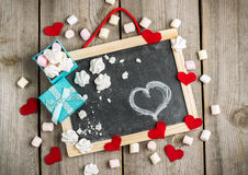 Love and Valentine Day decoration with hearts, frame, gift box Royalty Free Stock Photography