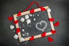 Love and Valentine Day decoration with hearts and frame Stock Images
