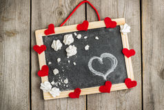 Love and Valentine Day decoration with hearts and frame Stock Photo