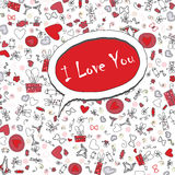 Love Valentine Day doodle icons vector illustration Stock Photos