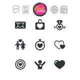 Love, valentine day icons. Target with heart. Stock Photo