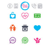 Love, valentine day icons. Target with heart. Stock Photos