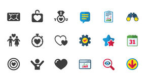 Love, valentine day icons. Target with heart. Love, valentine day icons. Target with heart, oath letter and locker symbols. Couple lovers, boyfriend signs Stock Image