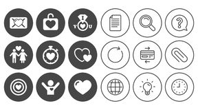 Love, valentine day icons. Target with heart. Love, valentine day icons. Target with heart, oath letter and locker symbols. Couple lovers, boyfriend signs Royalty Free Stock Images