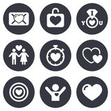 Love, valentine day icons. Target with heart Stock Image