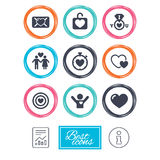 Love, valentine day icons. Target with heart. Royalty Free Stock Photos