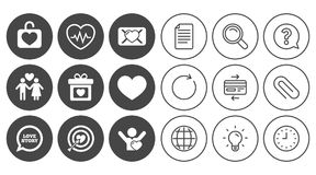Love, valentine day icons. Target with heart. Love, valentine day icons. Target with heart, oath letter and locker symbols. Couple lovers, heartbeat signs Stock Image